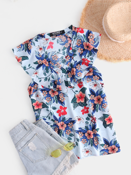 YOINS Light Blue Ruffle Trim Floral Print V-neck Tank Top