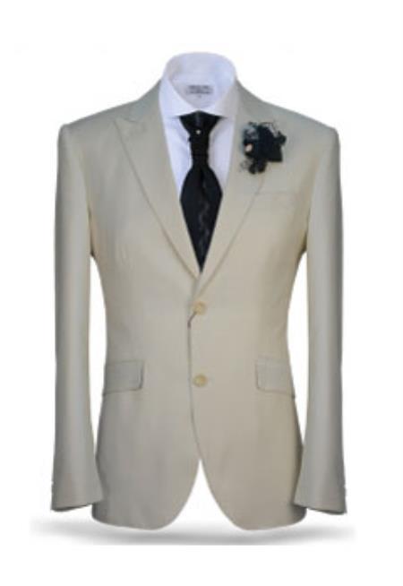 Mens Ivory Two Button Peak Lapel Suit Fashion Suit (Jacket + Pants)