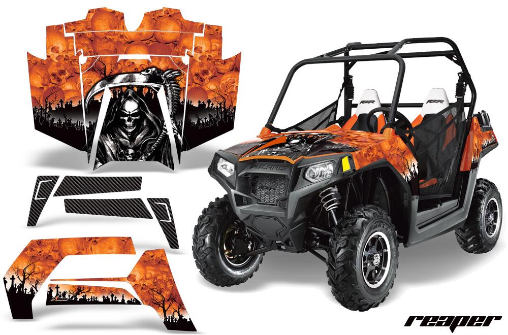 AMR Racing  Full Custom UTV Graphics Decal Kit Wrap Reaper Orange Polaris RZR 800 11-14