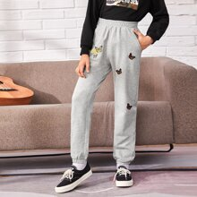 Boys Letter Graphic Butterfly Patched Sweatpants