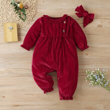 Baby Girl Ruffle Trim Velvet Jumpsuit & Headband