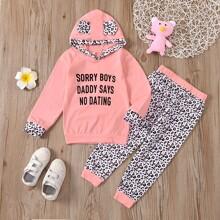 Toddler Girls Slogan And Leopard Hoodie & Sweatpants
