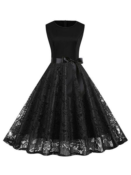 Milanoo Vintage Dress 1950s Lace Sleeveless Woman Swing Dress