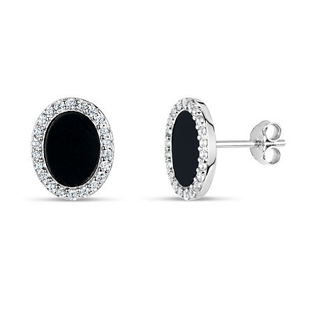Black Onyx Sterling Silver 11mm Round Stud Earrings, One Size , No Color Family