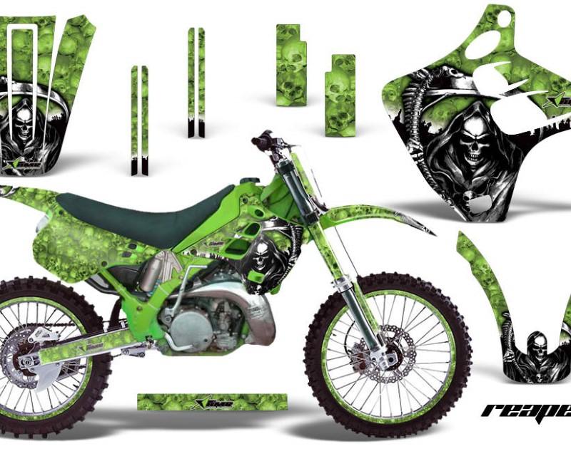 AMR Racing Graphics MX-NP-KAW-KX125-KX250-92-93-RP G Kit Decal Wrap + # Plates For Kawasaki KX125 | KX250 1992-1993 REAPER GREEN