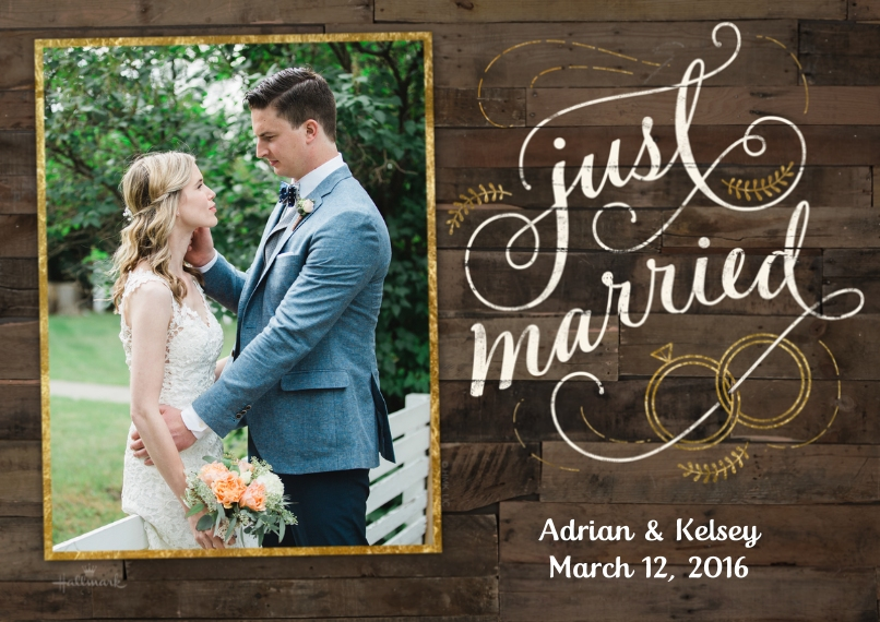 Just Married Flat Glossy Photo Paper Cards with Envelopes, 5x7, Card & Stationery -Rustic Wood Announcement