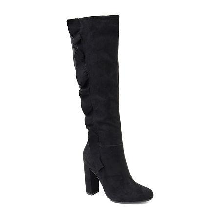 Journee Collection Womens Vivian Block Heel Zip Boots, 8 1/2 Medium, Black