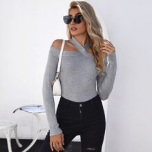 Cold Shoulder Rib-knit Sweater
