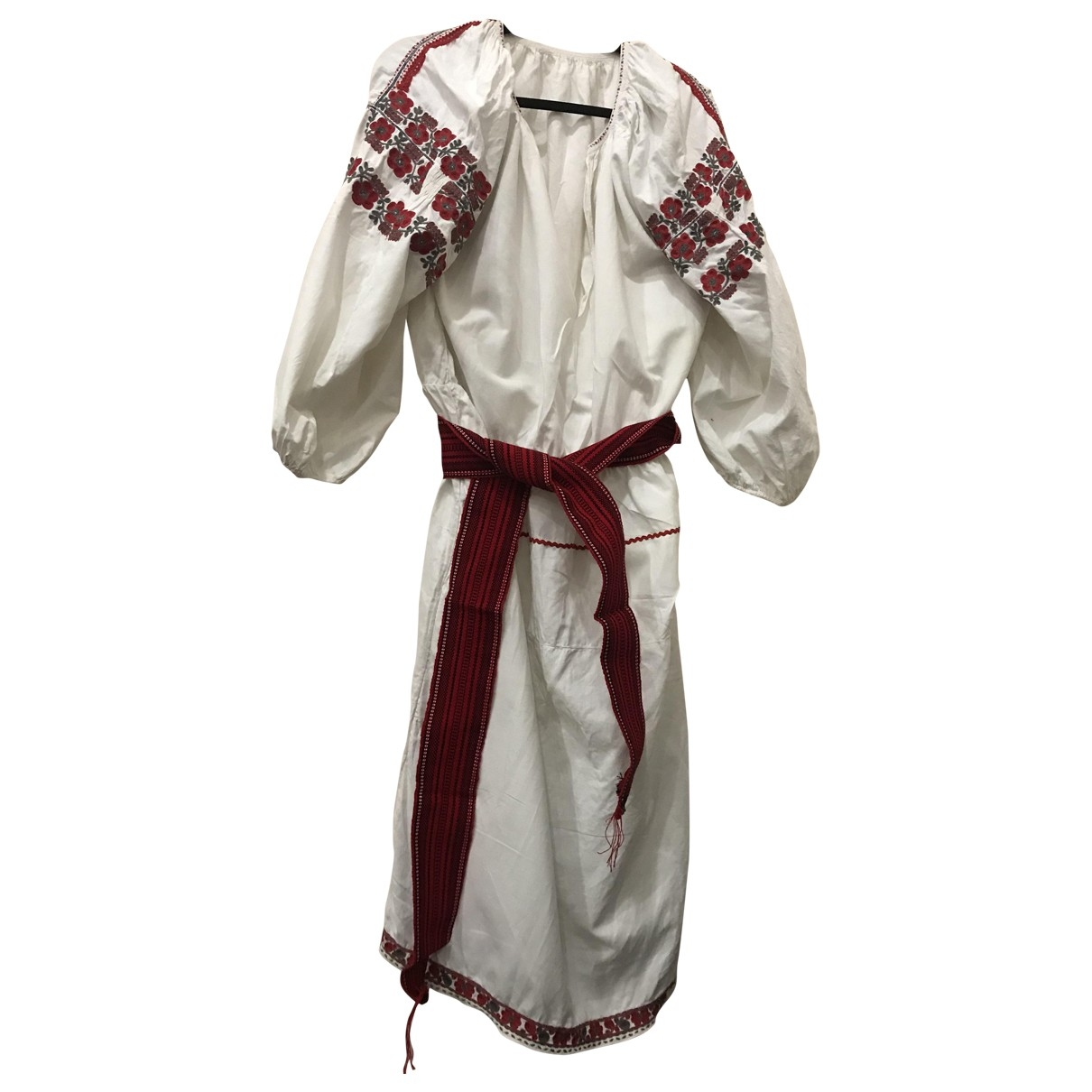 Non Signé / Unsigned \N White Cotton dress for Women 38 FR