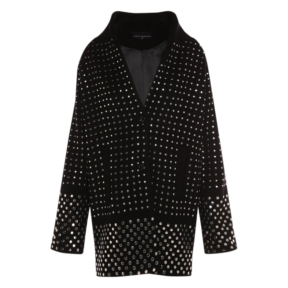 Nour Hammour - Manteau   pour femme en laine - noir
