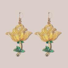 Flower Charm Drop Earrings