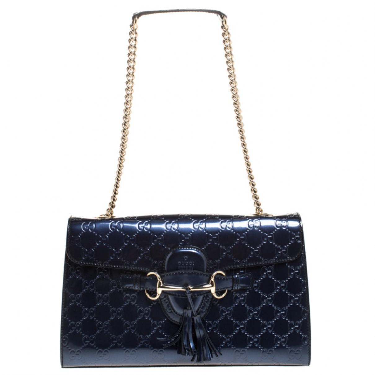 Gucci Emily Blue Patent leather handbag for Women N