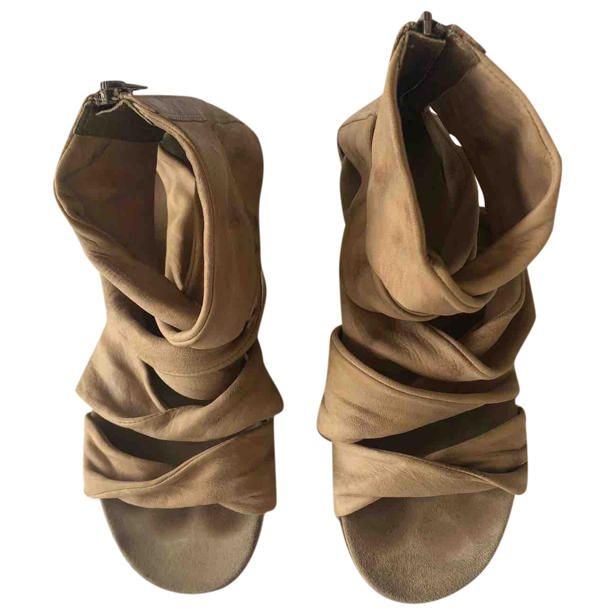 Janet & Janet \N Camel Leather Sandals for Women 36 IT