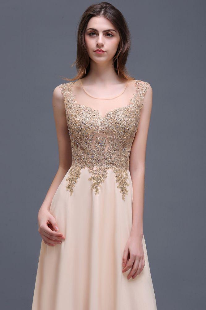 ALAYNA | Sheath Jewel Long Chiffon Evening Dresses With Applique