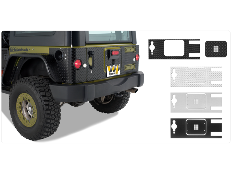 Warrior Products S920D-4 Tailgate Cover Outer Only Smooth Black Jeep JK Wrangler 07-17