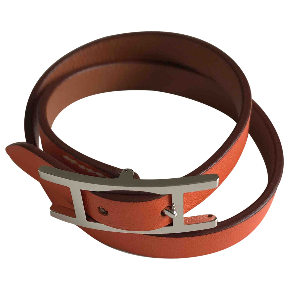 Hermes - Bracelet Hapi pour femme en cuir - orange