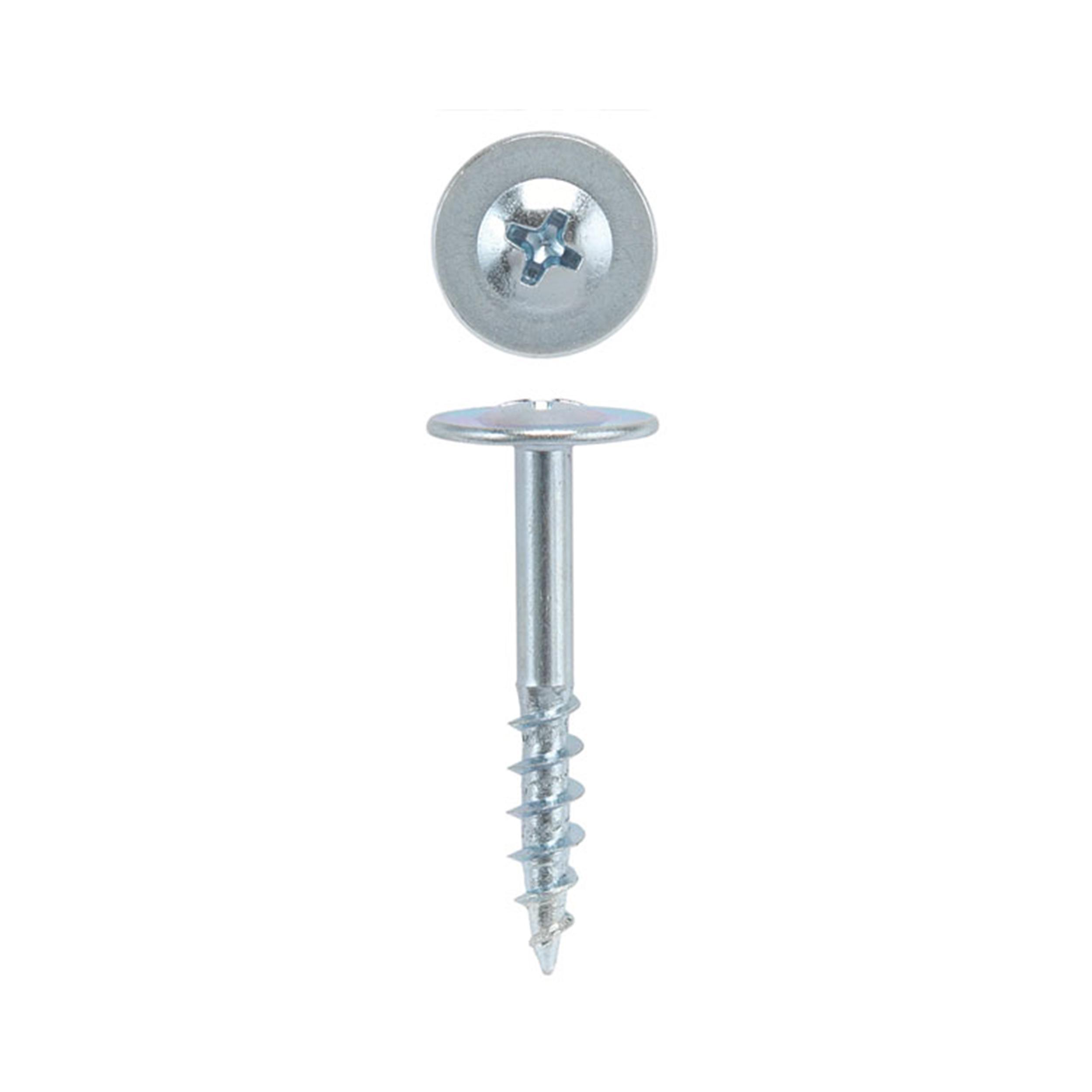 8 x 1-1/4 Drawer Front Adjusting Screws, Round Washer Head, Phillips Drive, Zinc, 100-Piece