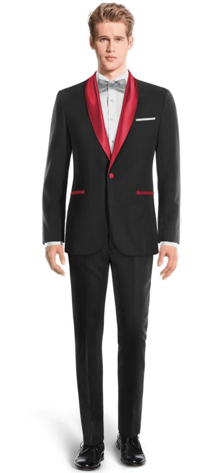 Mens Black And Red Two Toned Tuxedo Super 150s Wool Suit