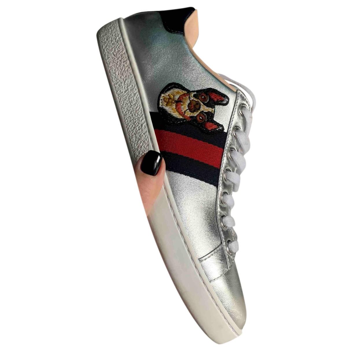 Gucci - Baskets Ace pour femme en cuir - argente