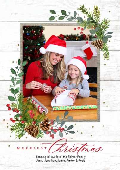 Christmas Photo Cards 5x7 Cards, Standard Cardstock 85lb, Card & Stationery -Christmas Merriest Foliage by Tumbalina