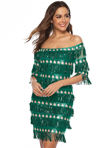 Milanoo Women Flapper Dress 1920s Fashion Style Outfits Great Gatsby Off the Shoulder Royal Blue Fringe Retro Dress with Tassels Party Dress