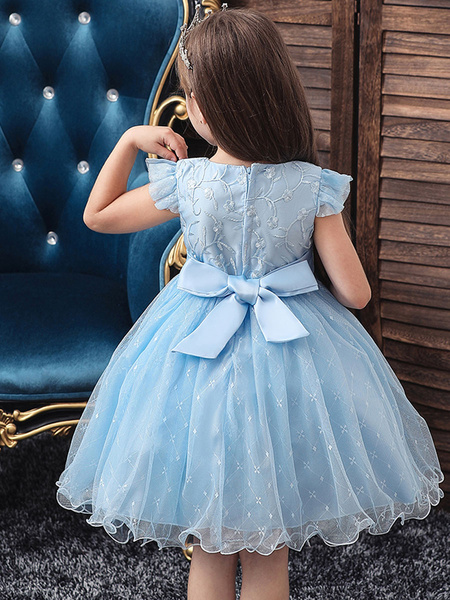 Milanoo Blue Teenage Girls Dress Summer Children Party Elegant Princess Long Tulle Baby Girls Kids Lace Wedding Ceremony Dresses