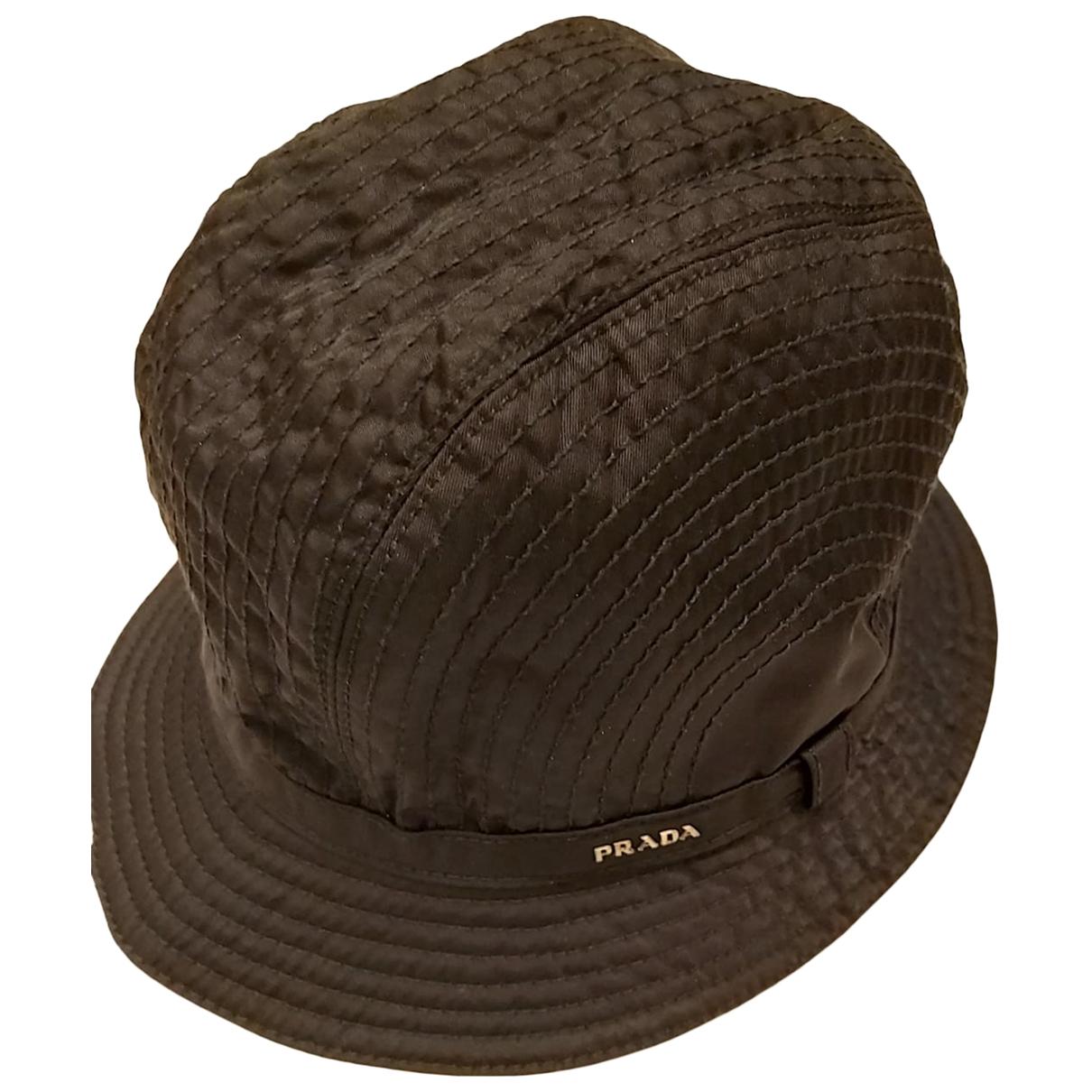 Prada - Chapeau & Bonnets   pour homme en toile - noir
