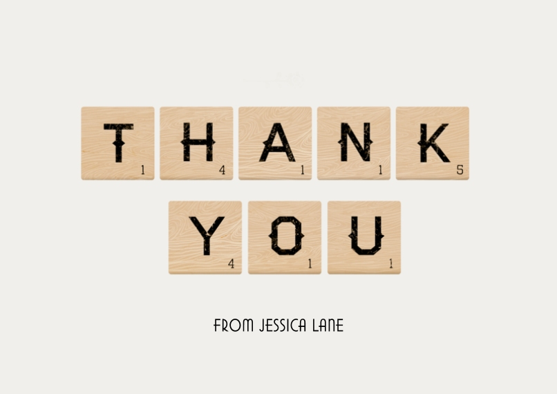 Thank You Cards 5x7 Cards, Premium Cardstock 120lb with Scalloped Corners, Card & Stationery -Blocks Thank You