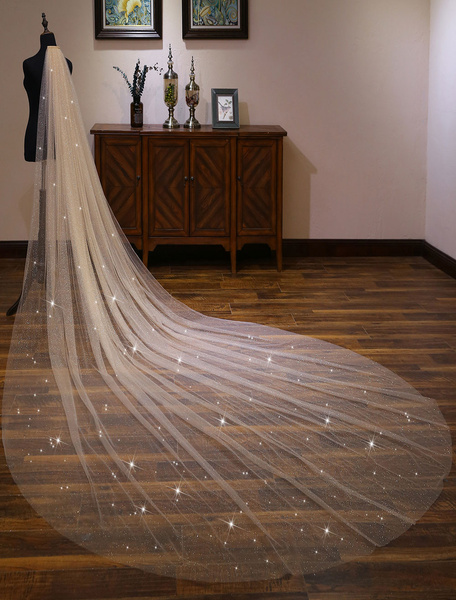 Milanoo Champagne Wedding Veil Shiny Long Cathedral Waterfall One Tier Cut Edge Bridal Veils