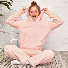 Solid Kangaroo Pocket Pajama Set
