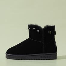 Rhinestone Decor Warm Ankle Boots