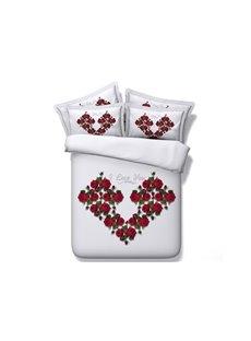 Red Flowers Heart Shape 5-Piece Comforter Sets