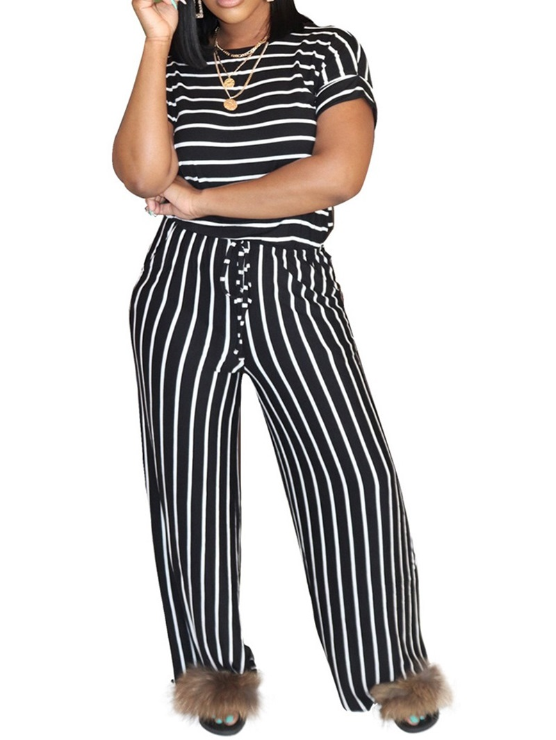 Ericdress Stripe Full Length Print Straight Slim Jumpsuit