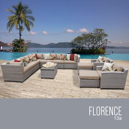 FLORENCE-13a-WHEAT Florence 13 Piece Outdoor Wicker Patio Furniture Set 13a with 2 Covers: Gray and
