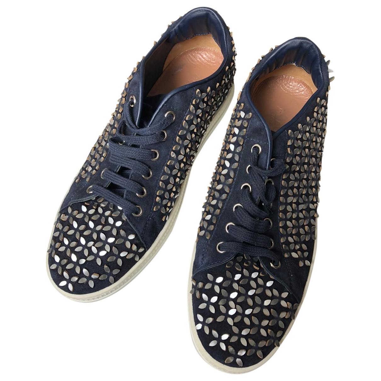 Alaia \N Sneakers in  Marine Veloursleder