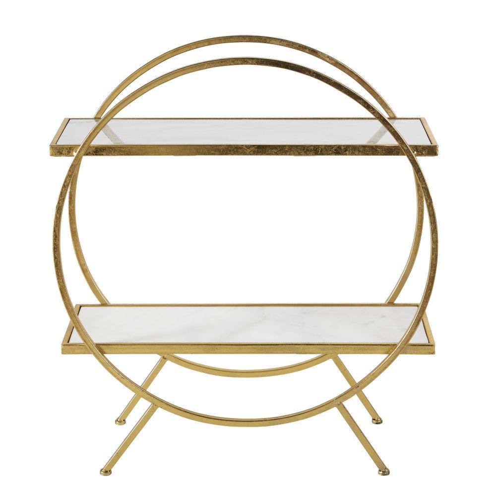 Regal aus goldfarbenem Metall und weissem Marmor