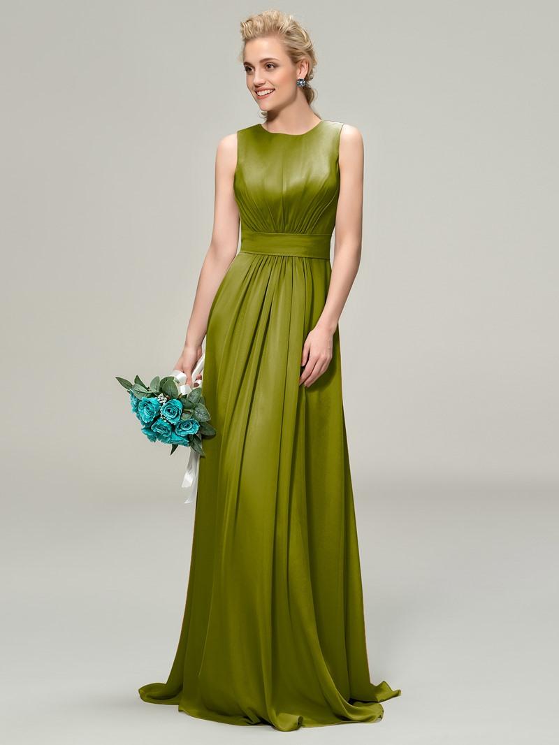 A-Line Scoop Pleats Zipper-Up Bridemaid Dress