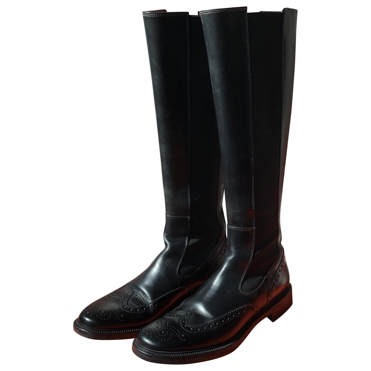 Santoni \N Black Leather Boots for Women 37.5 EU