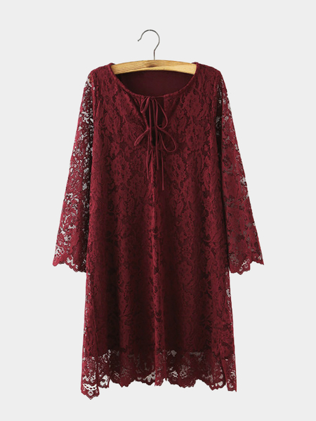 Yoins Floral Lace Dress with Lace-up