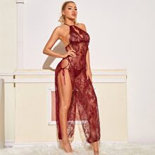 Floral Lace Tie Side Long Dress With Thong