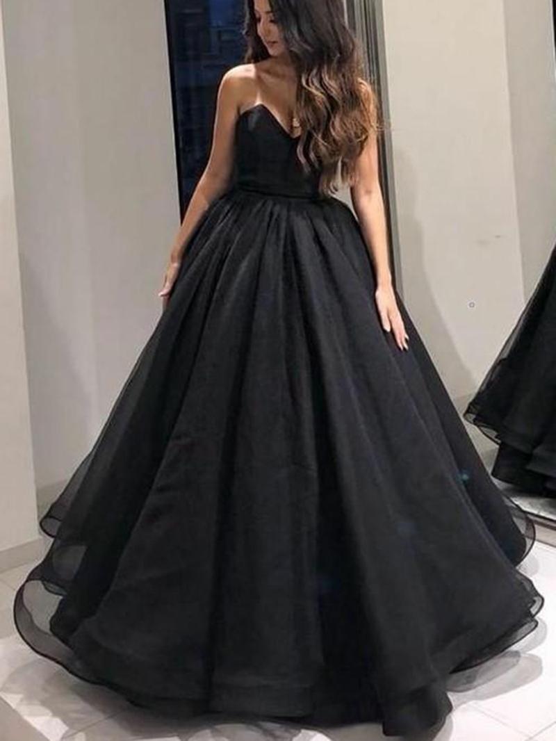 Ericdress Sweetheart A-Line Black Prom Dress