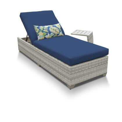 FAIRMONT-1x-ST-NAVY Fairmont Chaise Outdoor Wicker Patio Furniture With Side Table with 2 Covers: Beige and