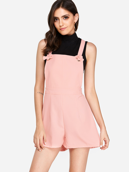 Yoins Casual Tie-Strap Playsuits in Pink