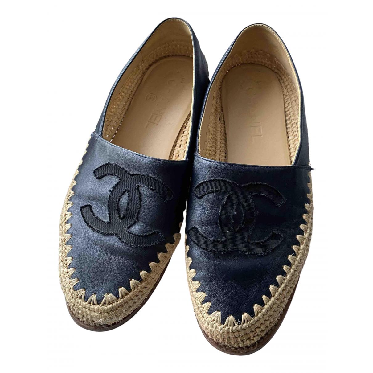 Chanel \N Black Leather Espadrilles for Women 37 EU