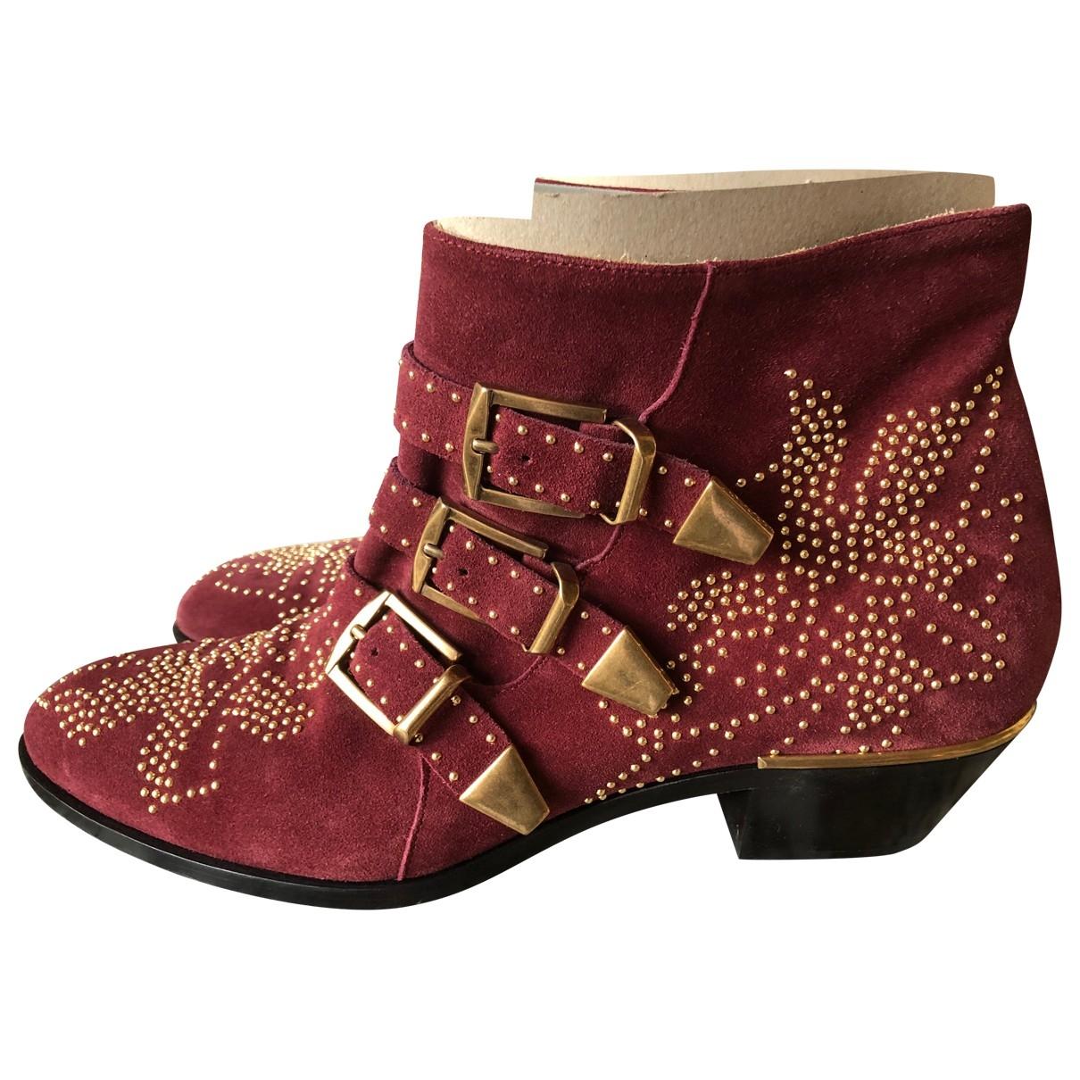 Chloe - Boots Susanna pour femme en suede - rouge