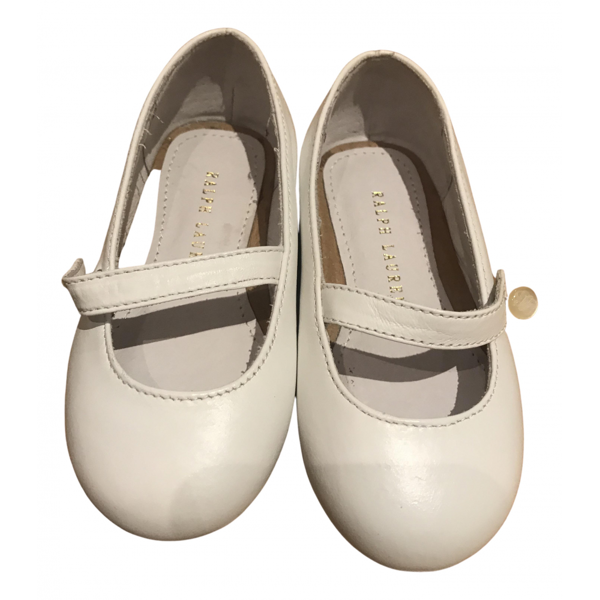 Ralph Lauren N White Leather First shoes for Kids 4.5 UK
