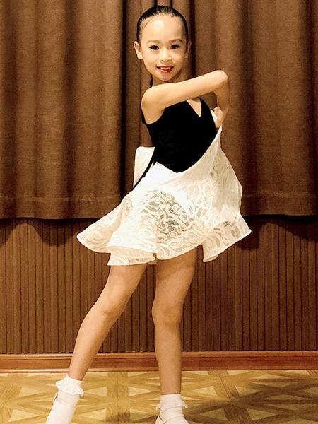 Milanoo Kids Latin Dance Dresses Black Girls Set Lycra Spandex SkirtTop Dancing Costume