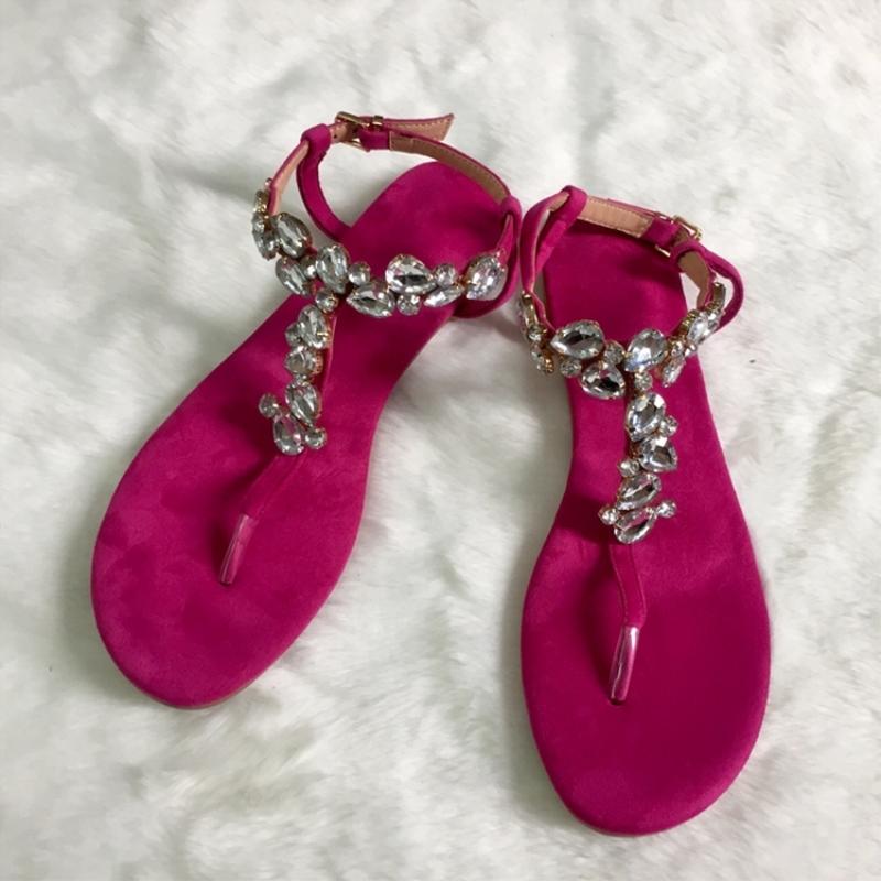 Eridress Thong Rhinestone Women's Flat Sandals