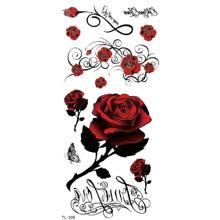 Pegatina tatuaje de rosa y letra