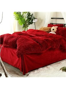 Antistatic Hot Red Super Soft Plush 4-Piece Fluffy Bedding Sets/Duvet Cover